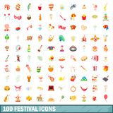 100 festival icons set, cartoon style. 100 festival icons set in cartoon style for any design vector illustration royalty free illustration