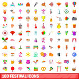 100 festival icons set, cartoon style. 100 festival icons set in cartoon style for any design vector illustration Stock Illustration