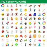 100 festival icons set, cartoon style. 100 festival icons set in cartoon style for any design illustration vector illustration