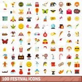100 festival icons set, flat style. 100 festival icons set in flat style for any design vector illustration stock illustration