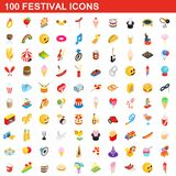 100 festival icons set, isometric 3d style. 100 festival icons set in isometric 3d style for any design illustration royalty free illustration