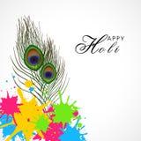 Festival indiano, celebração de Holi com pena do pavão Foto de Stock