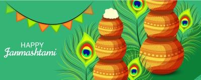 Festival indiano felice di Janmashtami di Lord Krishna Birthday Illustrazione di Stock