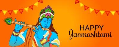 Festival indiano felice di Janmashtami di Lord Krishna Birthday Illustrazione Vettoriale