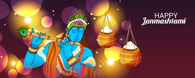 Festival indien heureux de Janmashtami de Lord Krishna Birthday illustration stock