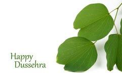 Festival indio Dussehra, mostrando la hoja de oro foto de archivo libre de regalías