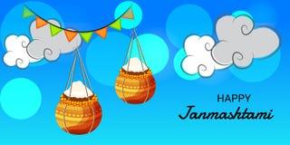 Festival indio feliz de Janmashtami de Lord Krishna Birthday Fotografía de archivo
