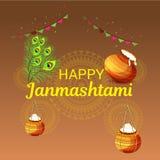 Festival indio feliz de Janmashtami de Lord Krishna Birthday Foto de archivo libre de regalías