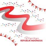 Festival indonesio del Día de la Independencia del cartel con la bandera Fotografía de archivo libre de regalías