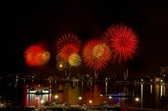Festival internacional 2012 de los fuegos artificiales de Pattaya Foto de archivo libre de regalías