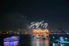Festival internacional de los fuegos artificiales de Pattaya Foto de archivo libre de regalías