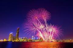 Festival internacional de los fuegos artificiales de Seul Imágenes de archivo libres de regalías