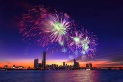 Festival internacional de los fuegos artificiales de Seul Imagen de archivo libre de regalías