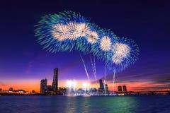 Festival internacional de los fuegos artificiales de Seul Fotos de archivo libres de regalías