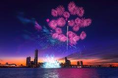 Festival internacional de los fuegos artificiales de Seul Imagen de archivo