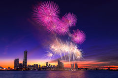 Festival internacional de los fuegos artificiales de Seul Foto de archivo libre de regalías