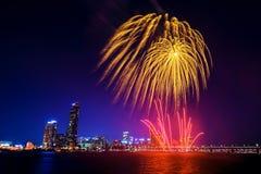 Festival internacional de los fuegos artificiales de Seul en Corea del Sur Imagen de archivo