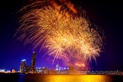 Festival internacional de los fuegos artificiales de Seul en Corea del Sur Imagen de archivo libre de regalías