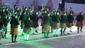 Festival internacional de MOSCOU da torre militar de Spasskaya da orquestra video estoque