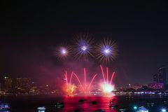 Festival internacional dos fogos-de-artifício de Pattaya Fotografia de Stock Royalty Free