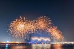 Festival internacional dos fogos-de-artifício na construção 63 em Seoul, Coreia do Sul Imagens de Stock