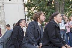 Festival internazionale dei teatri ULICA della via in Cracow_Kamchatka, Spagna fotografie stock libere da diritti
