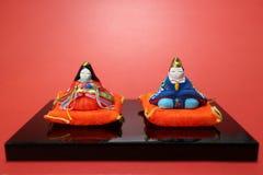Festival japonés de la muñeca en el humor rojo Imagenes de archivo
