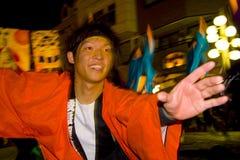 Festival japonés del hombre joven de los bailarines Fotos de archivo libres de regalías