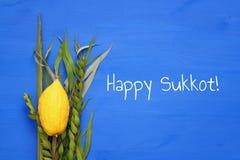 Festival juif de chute de Sukkot Symboles traditionnels et x28 ; Quatre le species& x29 ; : Etrog, lulav, hadas, arava Images libres de droits