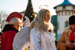 Festival Kharkiv. Ukraine christmas nativity scene 2018 the central park of culture and rest Royalty Free Stock Photography