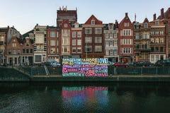 Festival léger Amsterdam, un message de l'amour dans les lumières dans un Amst Image libre de droits