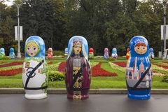 Festival of large Russian wooden dolls Royalty Free Stock Photo
