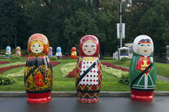 Festival of large Russian wooden dolls Stock Photos