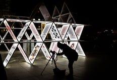 Festival leggero a Berlino 2015 Fotografo che prende le immagini del pla Fotografia Stock