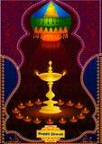 Festival ligero del fondo feliz de la celebración de la India Diwali ilustración del vector