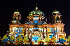 Festival of Light, Berlin, Germany - Berliner Dom. Night-time scene from the Berliner Dom during the Festival of Light, Berlin, Germany royalty free stock images