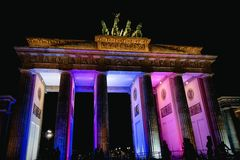 Festival of Light at Brandenburg Gate, Berlin, Germany. Light display at Brandenburg Gate, Berlin, Germany royalty free stock photography