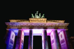 Festival of Light at Brandenburg Gate, Berlin, Germany. Light display at Brandenburg Gate, Berlin, Germany royalty free stock photo