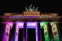 Festival of Light at Brandenburg Gate, Berlin, Germany. Light display at Brandenburg Gate, Berlin, Germany stock photography