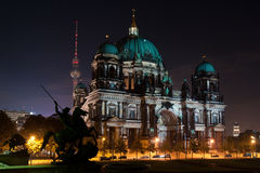 FESTIVAL OF LIGHTS 2010 in Berlin, Germany. BERLIN, GERMANY - OCTOBER 17: Berliner Dome illuminated by colorful lights during Festival of lights 2010 in Berlin royalty free stock images
