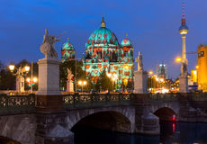 Festival of Lights, Berlin. Festival of Lights (Berlin Cathedral, TV Tower and Castle Bridge stock photos