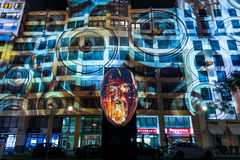 "Festival of lights 2016. Berlin, Germany. BERLIN - OCTOBER 08, 2016: Festival of lights. Historical projection on the facade of the new shopping center ""Mall of Royalty Free Stock Images"