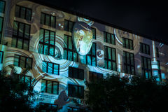 "Festival of lights 2016. Berlin, Germany. BERLIN - OCTOBER 08, 2016: Festival of lights. Historical projection on the facade of the new shopping center ""Mall of Royalty Free Stock Photos"