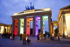 Festival of Lights Berlin. OCTOBER 19, 2008 - BERLIN: the Brandenburg Gate during the Festival of Lights in Berlin stock image