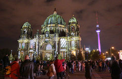 Festival of Lights Berlin. OCTOBER 14, 2014 - BERLIN: the illuminated Berliner Dom (Berlin cathedral) and the Fernsehtum (television tower) in Berlin Mitte royalty free stock photos