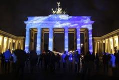 Festival of Lights Berlin. OCTOBER 18, 2013 - BERLIN: the illuminated Brandenburg Gate at the Pariser Platz in Berlin Mitte during the Festival of Lights stock image