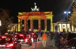 Festival of Lights Berlin. OCTOBER 12, 2014 - BERLIN: the illuminated Brandenburg Gate at the Pariser Platz in Berlin Mitte during the Festival of Lights 2014 royalty free stock image