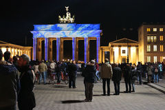 Festival of Lights Berlin. OCTOBER 12, 2014 - BERLIN: the illuminated Brandenburg Gate at the Pariser Platz in Berlin Mitte during the Festival of Lights 2014 stock photo
