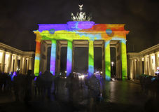 Festival of Lights Berlin. OCTOBER 18, 2013 - BERLIN: the illuminated Brandenburg Gate at the Pariser Platz in Berlin Mitte during the Festival of Lights stock photography
