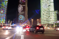 Festival of Lights Berlin. OCTOBER 12, 2014 - BERLIN: traffic at the Potsdamer Platz in Berlin Tiergarten with illuminated buidlgings during the Festival of stock image